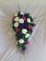 ARTIFICIAL FLOWERS IVORY/PURPLE/HOT PINK FOAM ROSE BRIDE WEDDING SHOWER BOUQUET